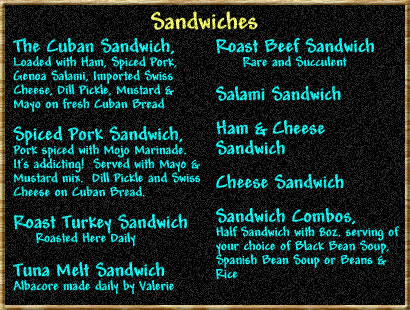 Cuban Sandwich Menu